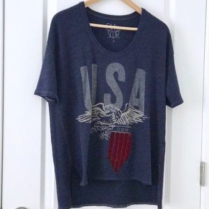 Chaser Graphic Tee Oversized USA Eagle Blue